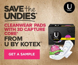 Save the Undies free sample from U by Kotex