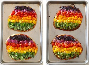 gay pride rainbow pizza
