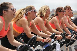 woman on bikes exercising