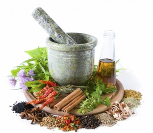 pestle and herbs, food