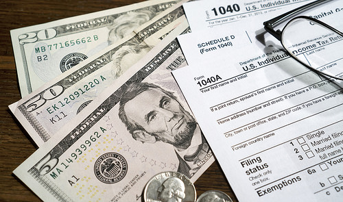 Money and tax forms to file your taxes