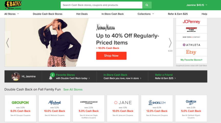make money christmas shopping with Ebates