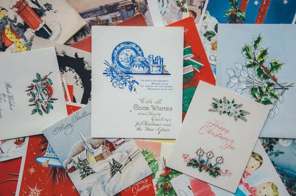 pile of Christmas cards