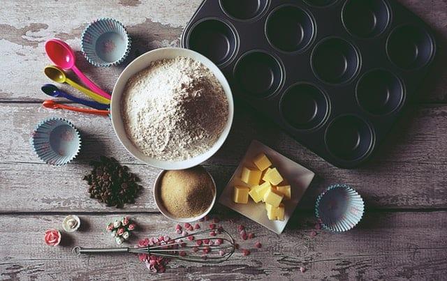 flatlay of baking supplies