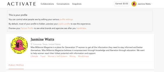 Create a profile on Activate by Bloglovin to make more money with sponsored content