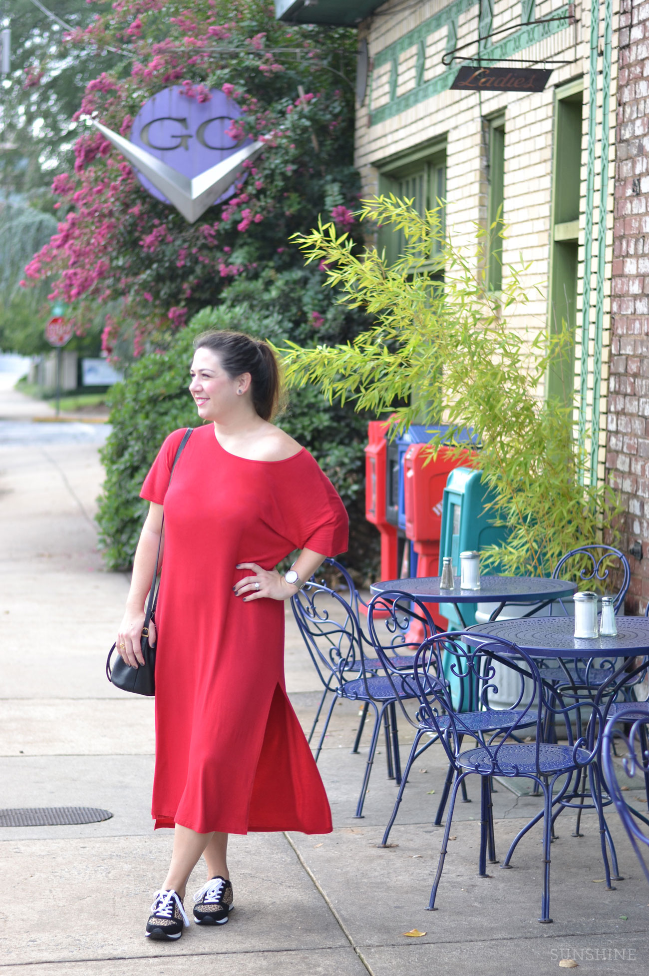 Slouchy Red Dress with Leopard Sneakers