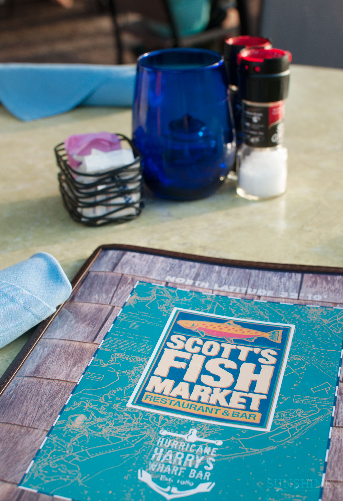 The menu from Scott's Fish Market in Hilton Head, SC.