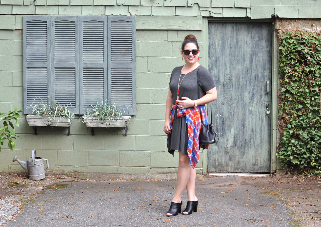 Transition a summer swing dress into fall.