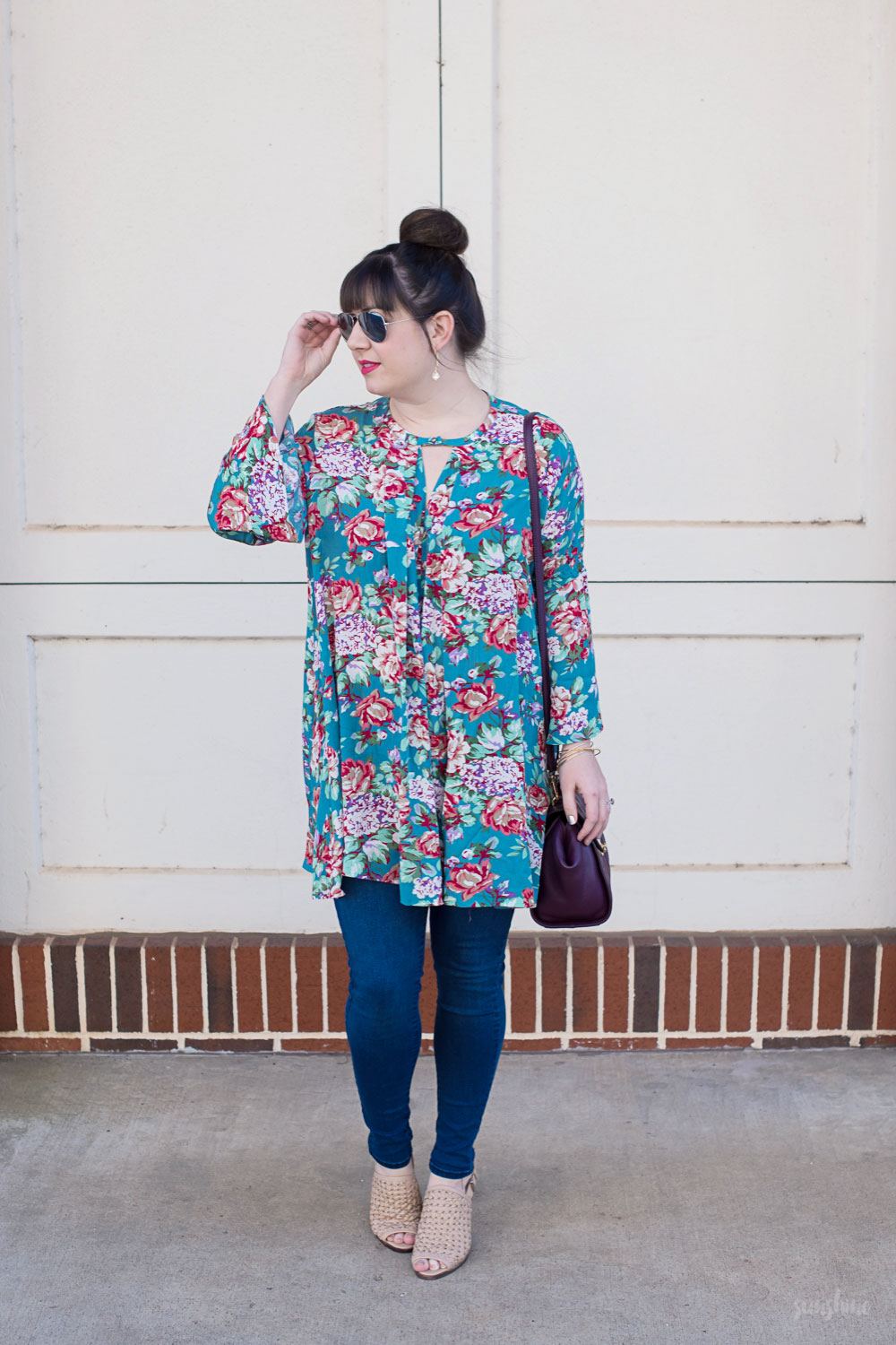 PinkBlush Tunic, Old Navy Jeggings, Steve Madden Mules, and a Vera Bradley Bag