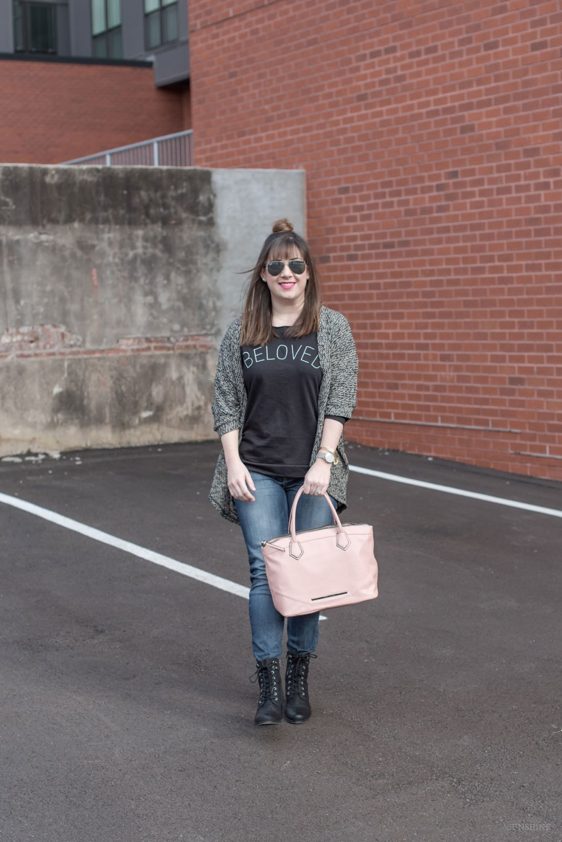 """Beloved"" Sweatshirt, Blush Steve Madden Bag, Hudson Jeans"