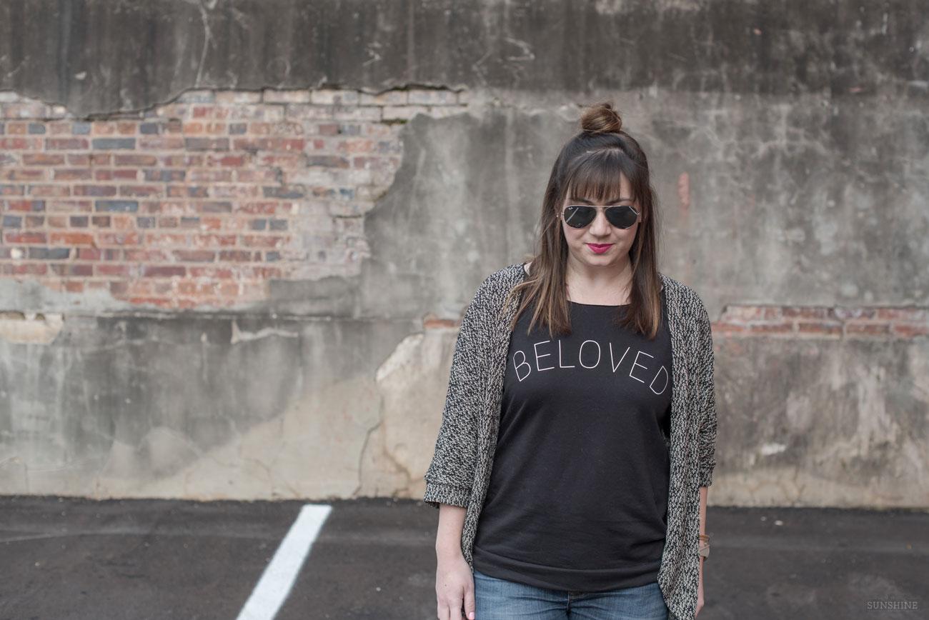 """""""Beloved"""" Sweatshirt, Blush Steve Madden Bag, Hudson Jeans"""