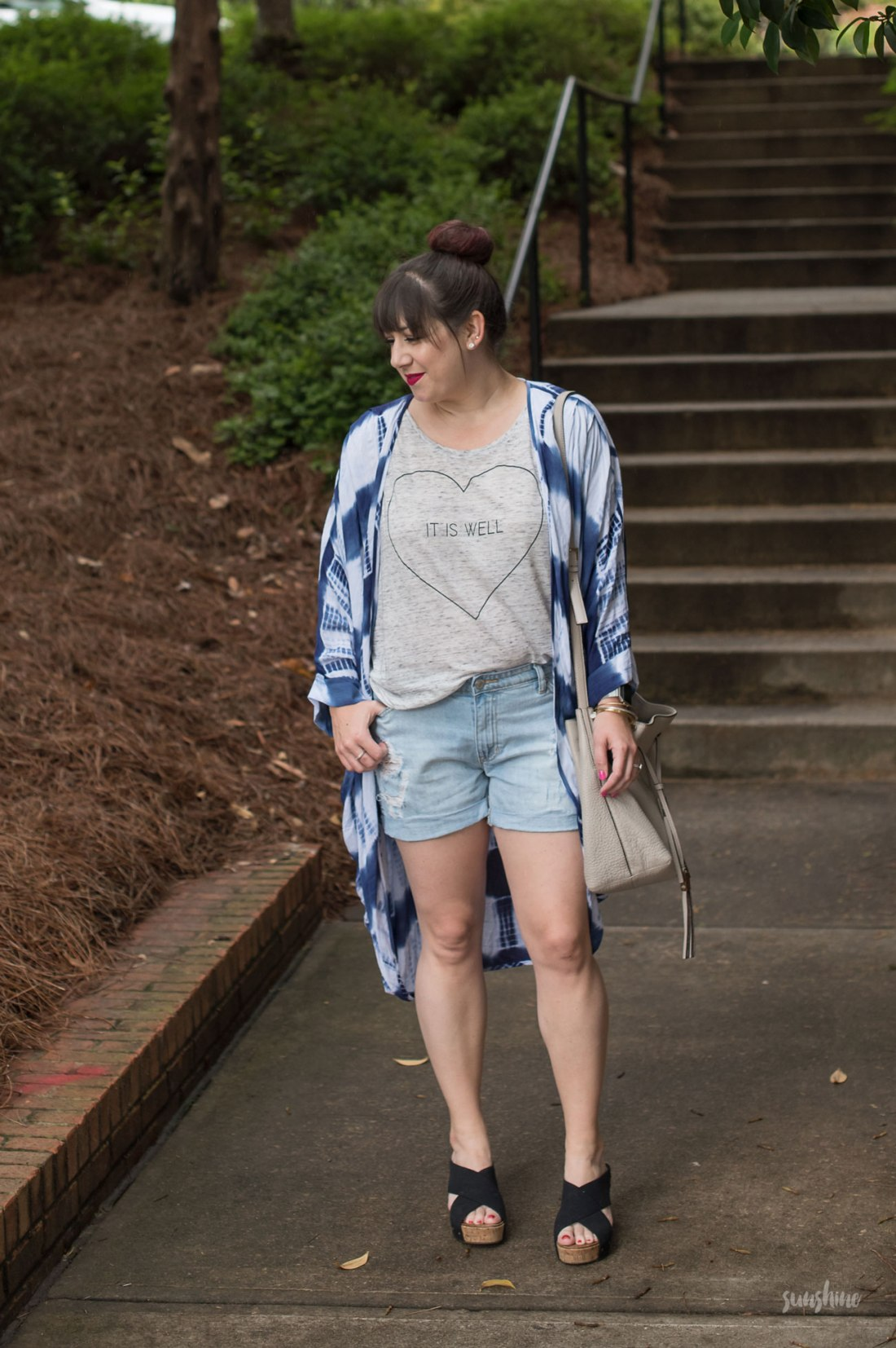Hello Grace Tee, Tie-Dyed Cardigan, Gap Shorts, and Kate Spade Bag