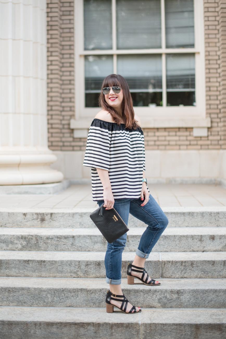 Striped Top, Black Strappy Sandals, Gap Girlfriend Denim