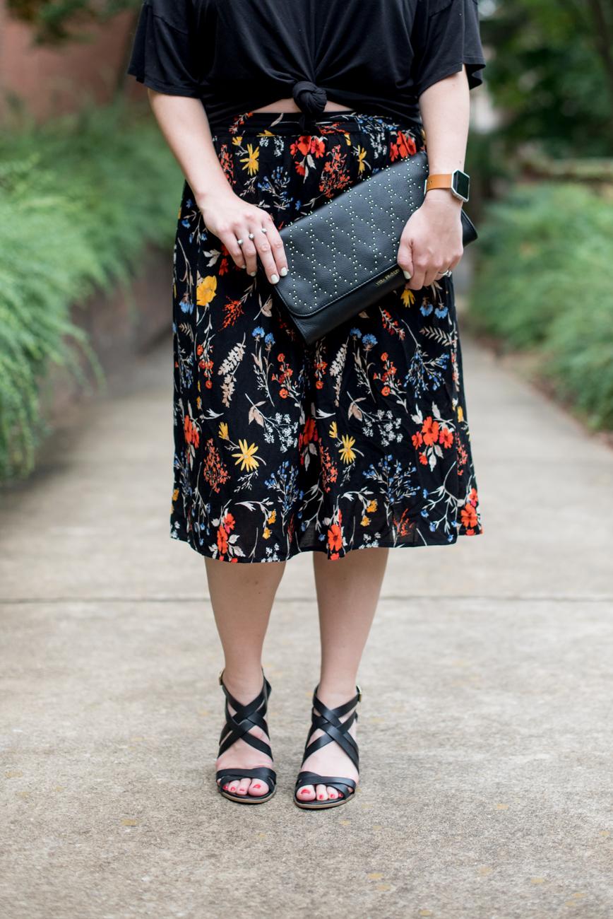 Old Navy Floral Skirt, Vera Bradley Clutch