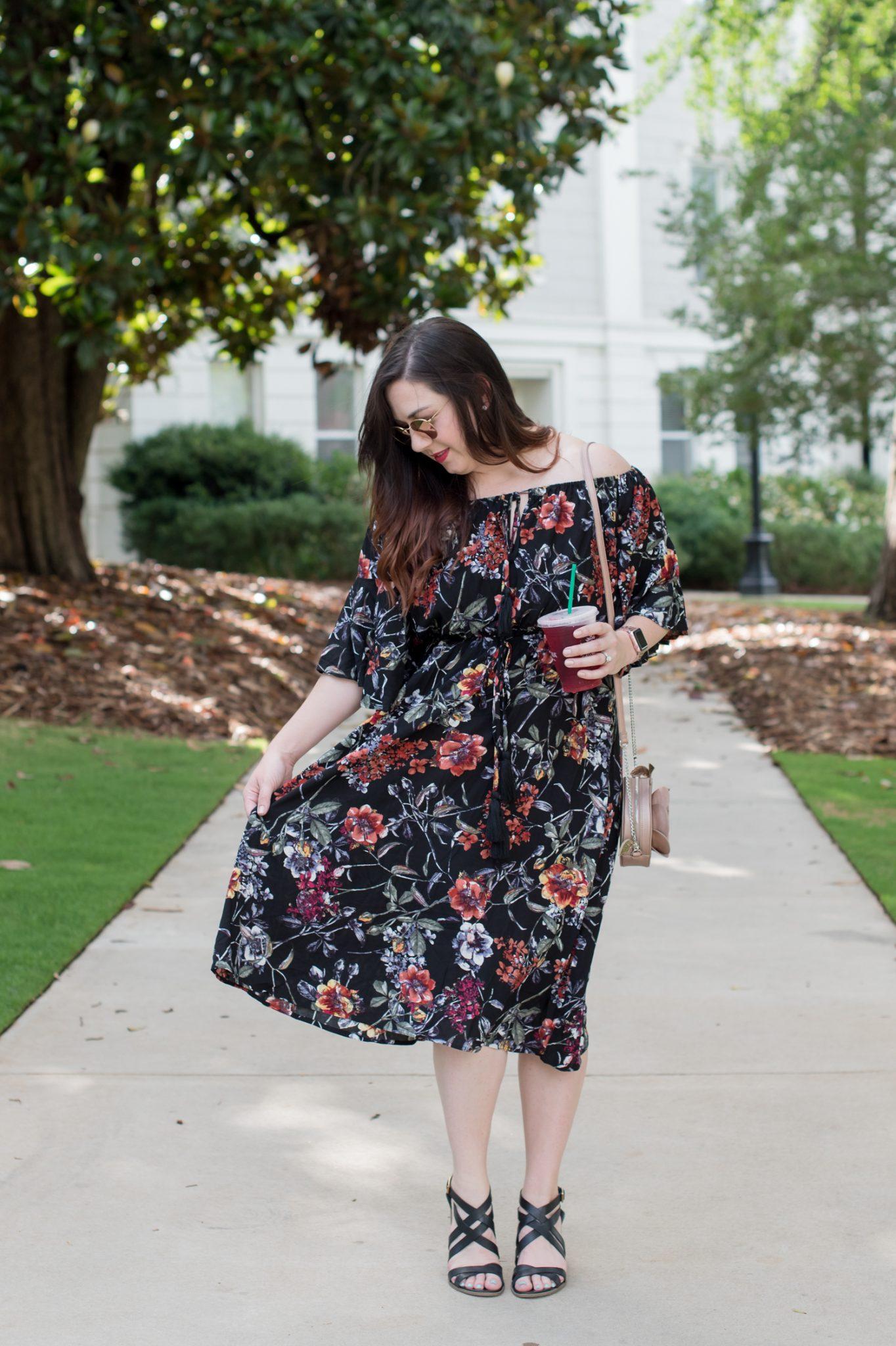 A Flirty Floral Off-the-Shoulder Dress via @missmollymoon