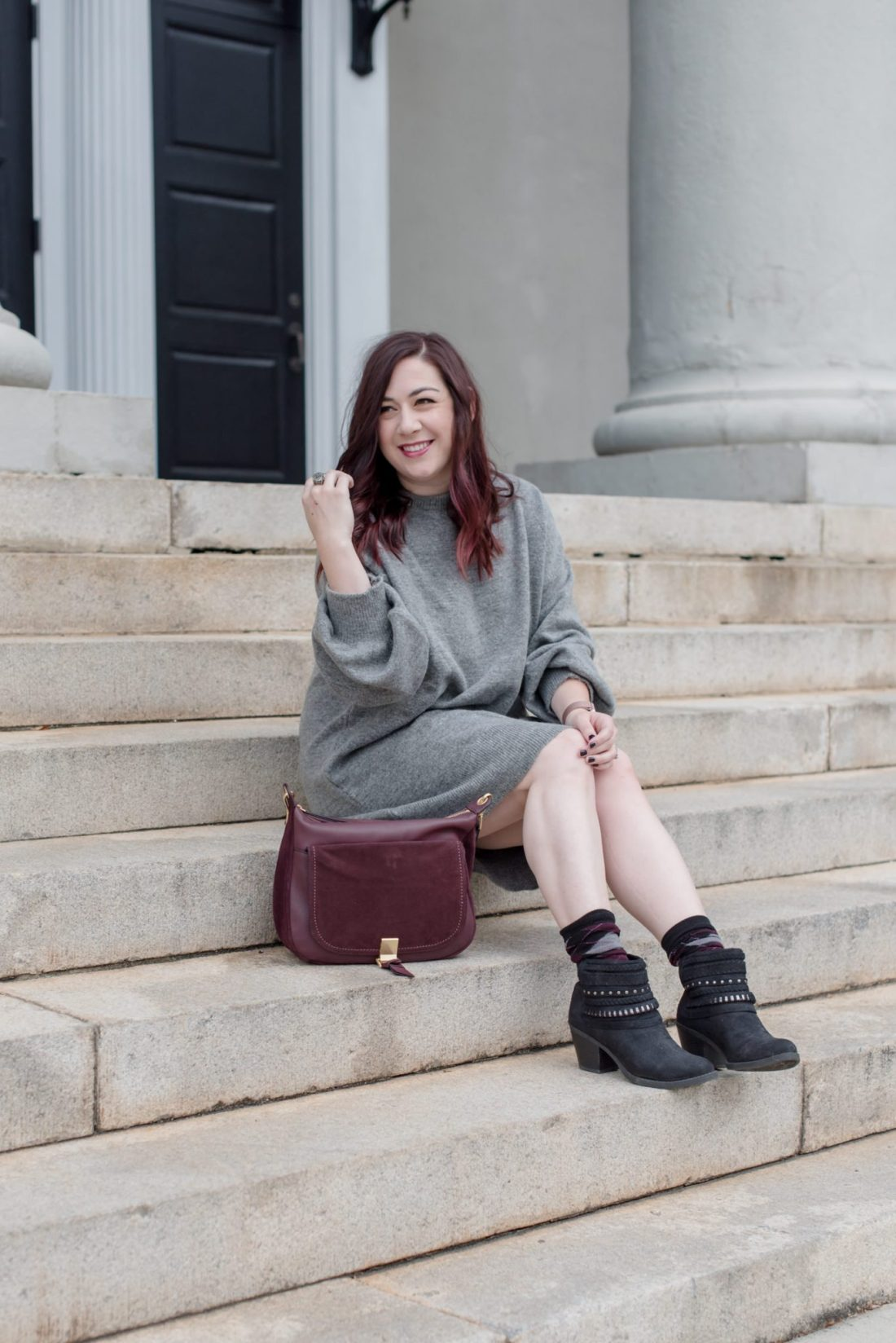My Experience with Laser Hair Removal at WIFH in Atlanta // Miss Molly Moon  | Laser Hair Removal at WIFH review featured by top Atlanta beauty blogger, Miss Molly Moon: image of a woman wearing a TopShop sweater dress, Old navy booties, Vera Bradley shoulder bag