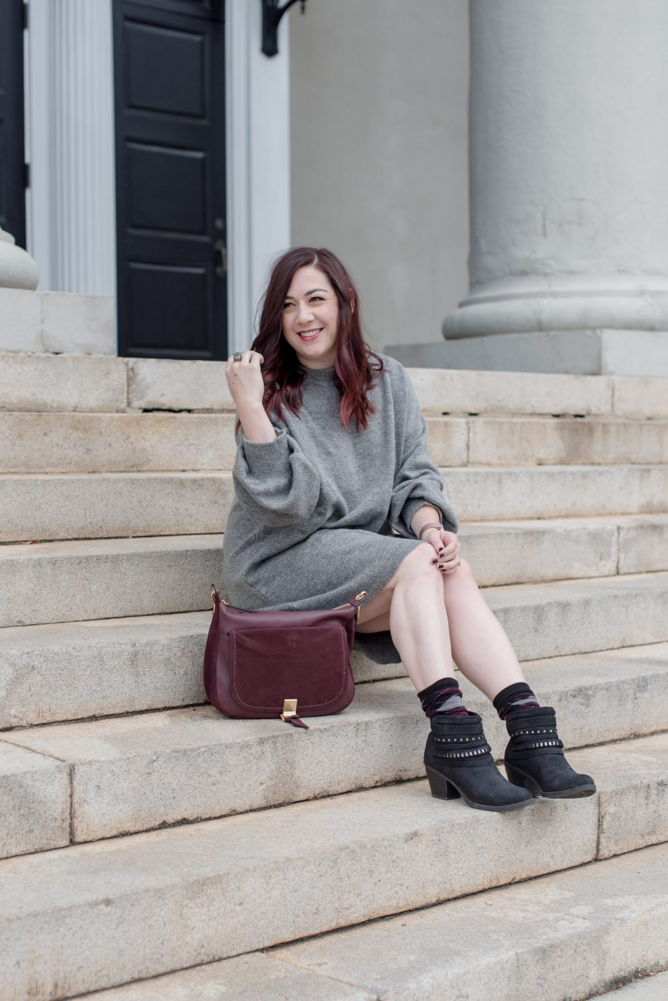 My Experience with Laser Hair Removal at WIFH in Atlanta // Miss Molly Moon    Laser Hair Removal at WIFH review featured by top Atlanta beauty blogger, Miss Molly Moon: image of a woman wearing a TopShop sweater dress, Old navy booties, Vera Bradley shoulder bag