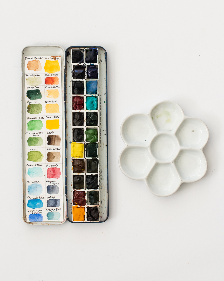 Daniel Smith Watercolor Palette : daniel, smith, watercolor, palette, Vintage, Watercolor, Palette, (filled), Ceramic, Mustard
