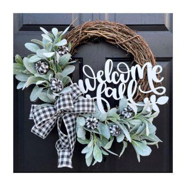 Autumn welcome wreath for front door