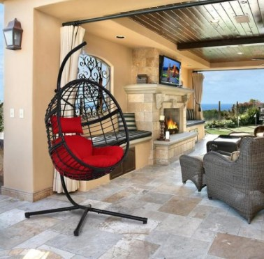 Black Wicker Outdoor Basket Swing Chair with Stand and Red Cushion