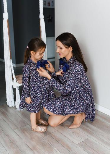 Blue floral matching dresses for mother and daughter