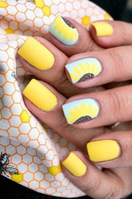 Bright yellow summer nails art