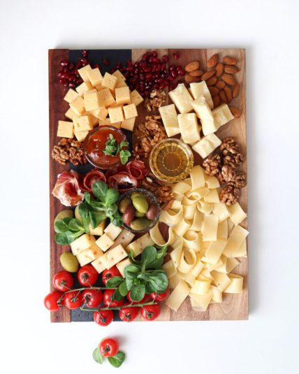 Cheese and mixed seeds charcuterie board for Christmas eve