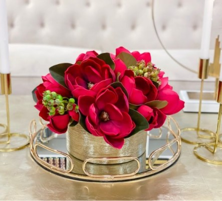 Christmas Flower Arrangement -Real touch red Magnolia flower
