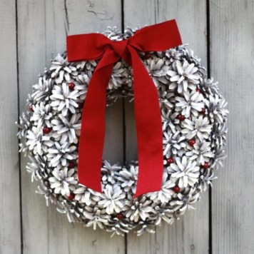 Bleached pinecone Christmas wreath