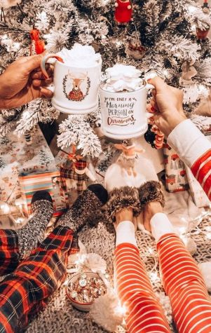 Cosy Hot chocolate cup aesthetic  winter image
