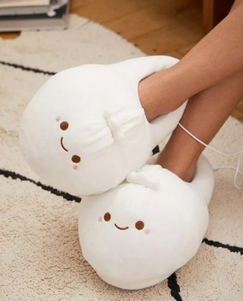 Cozy white slippers