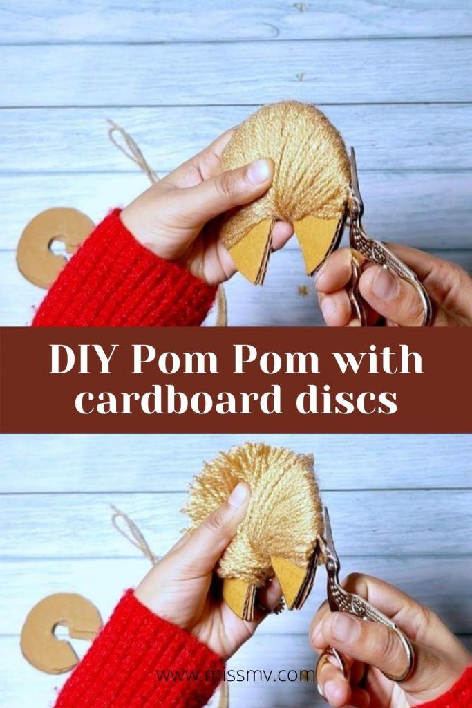 DIY Pom Pom with cardboard discs