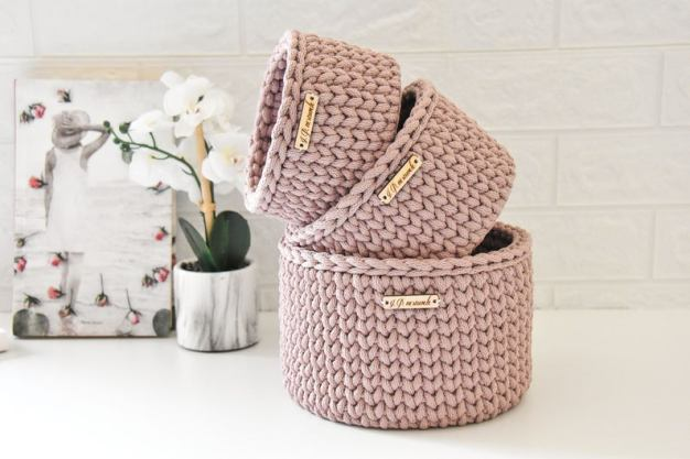 Dusty rose crocket basket for makeup organizing