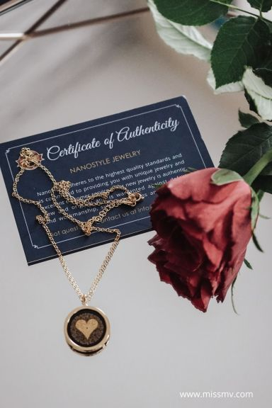 Nanostyle necklace comes with a certificate of authenticity. Elegant gold plated pendant for her anniversary.