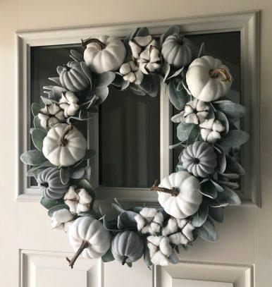 Farmhouse white pumpkin wreath