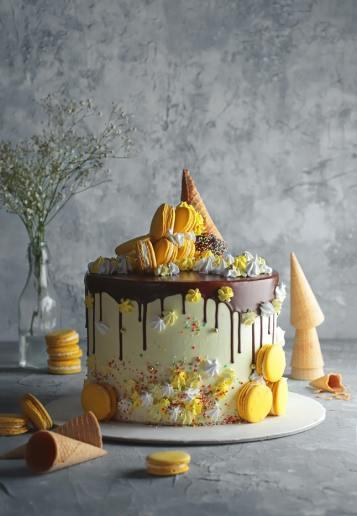 Festive yellow cake with macarons