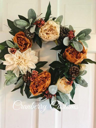 Floral autumn wreath for front door decor