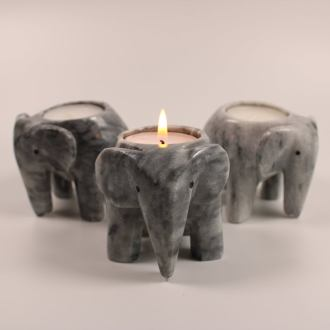 Grey Onyx Marble Elephant Tea Light Holders