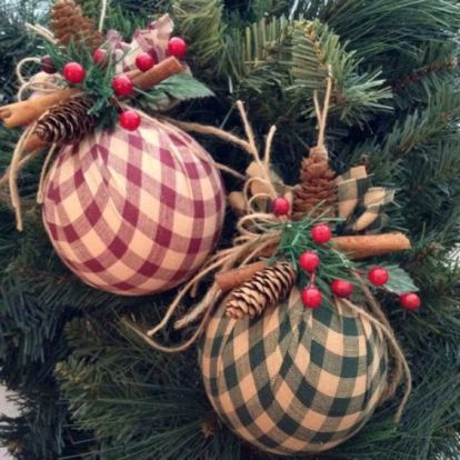 Handmade Christmas tree bauble wrapped in cotton