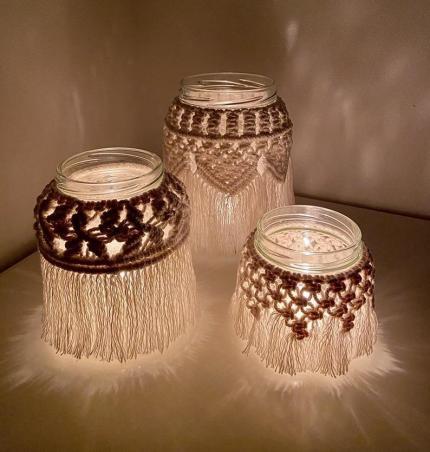 Handmade Macrame Candle Holder