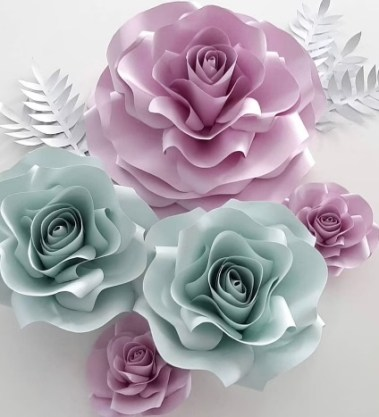 Handmade paper mint and purple roses