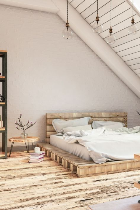 Industrial vintage bedroom decor made with wood pallets