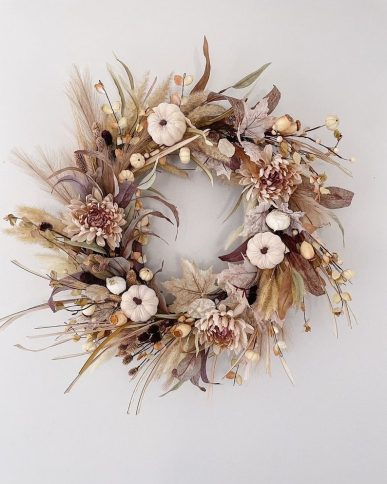 Large Blush and Mauve Neutral Fall Wreath