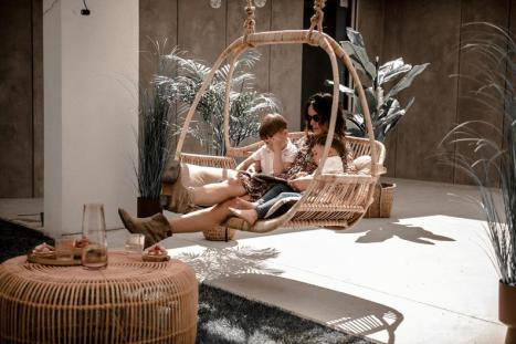 Large rattan hanging chair for patio decor