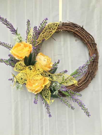 Lavender and Yellow Door Decor