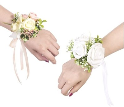 Ling's moment Wrist Corsages Bracelet White Corsage Bridesmaid Hand Flower for Wedding Festival Beach Party Prom