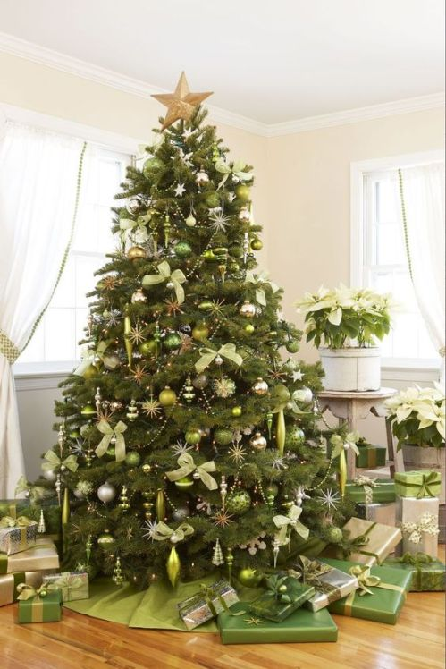 Natural green decorated Christmas tree