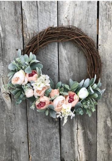 Peony and grapevine spring wreath for front door