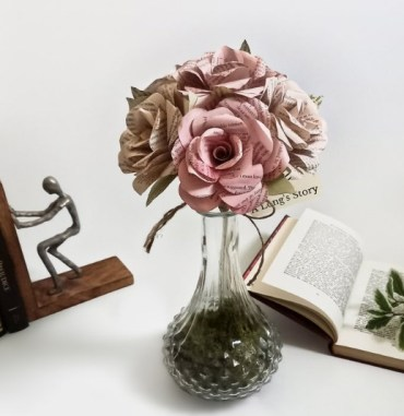 Pink Book Paper Roses bouquet