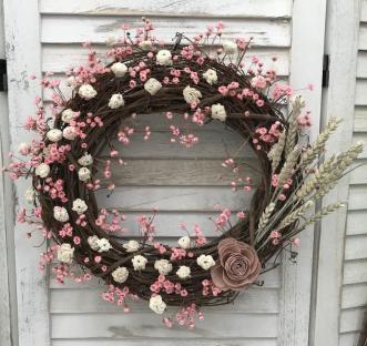 Pink & Cream Natural Grapevine Spring Wreath